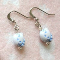Girls Mini Hello Kitty Blue Head Earrings Jewelry Children Kids