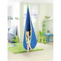 Amazon.com: La Siesta Joki Hanging Crows Nest Soft Fabric Hammock Swing - Holds 175 pounds - 27 x 59 in - Blue: Office Products
