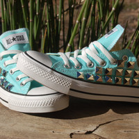 Blue Studded Converse Low Top Mint/Aqua/Sky Blue
