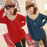 Women Peter Pan Collar Warm Sweater Round Neck Knit Shirt Pullover Outerwear New