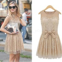 Europe Fashion Yarn splicing Sleeveless Chic Lace Dress Apricot Ty