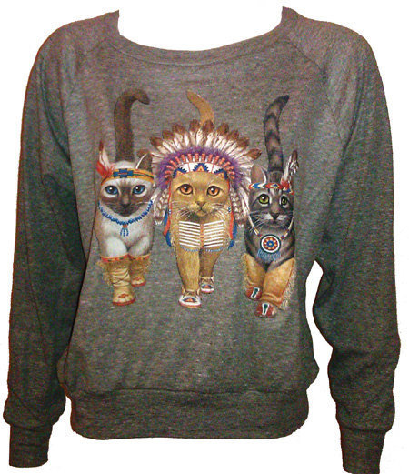 Three Native Kitty Cats Pullover Slouchy by UnknownArtistApparel