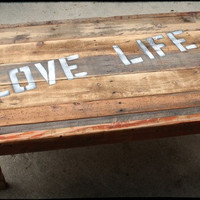 Rustic Coffee Love Life Table Reclaimed Wood