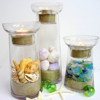 3pc Beach Decor Fillable Candle Holders - Nautical Decor, Set of 3, Includes Shells & Sea Glass