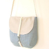 Dark Blue Stripe Cross OR Shoulder Bag with braid by BagyBag