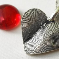 Fingerprint  Heart Necklace Jewelry Double by rockmyworldinc