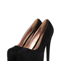 Foxy Black Suedette Super High Platform Heels