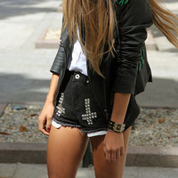 HypoxicAndLost - Handmade - BLACK CROSS STUDDED Denim Cut Off Shorts
