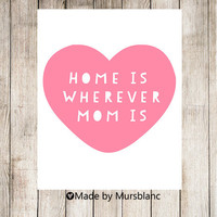Home is wherever mom is - typography art print 8x10