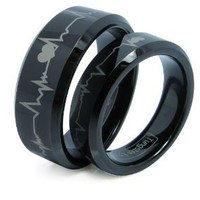 Matching Black Comfort Fit Tungsten Carbide Rings with Laser Forever Love Design 8mm (Size 5 -16) His & 6mm (Size 4-16) Hers Set Aniversary/engagement/wedding Bands. Please E-mail Sizes: Jewelry: Amazon.com