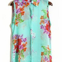 Turquoise Big Flower Print Shirt S088