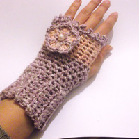 CROCHET PATTERN Pink Fingerless Gloves for by SimpleCrochetPattern