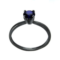 Dark Sapphire Ring .5 Carat, Sterling Silver and Blue Sapphire Tiffany Set Cocktail Ring