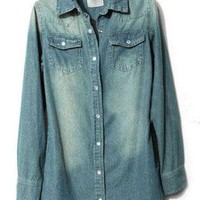 Blue Lapel Long Sleeve Pockets Denim Blouse S066
