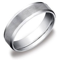 Men&#x27;s 10k White Gold 6mm Comfort Fit Plain Wedding Band with Satin Center and Beveled Sides: Jewelry: Amazon.com