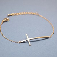 Sideways Cross Bracelet In Yellow G.. on Luulla