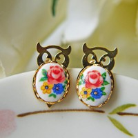 Fukuro Vintage Gold Owl Post Earrin.. on Luulla