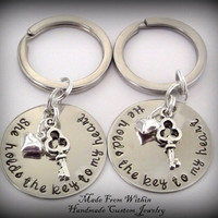 Long Distance Relationship Key Chain Set- You hold the key to my heart-Relationship key chains