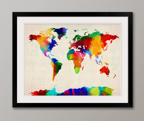 Rolled Paint Map of the World Map Art Print