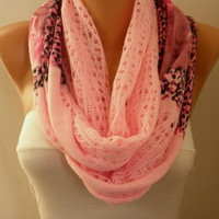 Pink Infinity Scarf Shawl Circle Scarf Loop Scarf Fabric Knitted Lace Scarf Gift -fatwoman