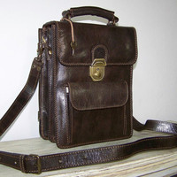 Dark brown leather crossbody bag handbag messenger by chicleather