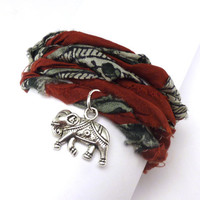 Sari Silk Ribbon Wrap Bracelet with Elephant by charmeddesign1012