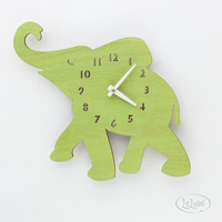 "The ""Baby Lime Green Elephant"" designer wall mounted clock from LeLuni"