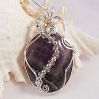 Wire Wrapped Pendant Necklace, Amethyst Jewelry
