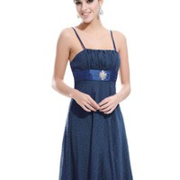 Ever Pretty Empire Waist Spaghetti Straps Jacquard Dot Party Dress 02037
