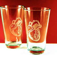 2 Anatomical Heart Etched Pint Glasses by PhoenixFireStudios