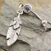 Feather Belly Button Jewelry Silver Tribal by MidnightsMojo