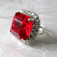 Handmade Ring Ruby Red and Rhinestones Recycled Vintage Adjustable