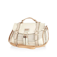 Beige woven panel studded satchel