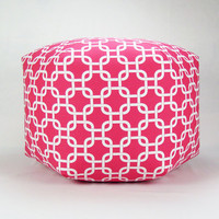 "24"" Floor Ottoman Pouf Pillow Candy Pink & White - Gotcha Chainlink Contemporary Modern Print"