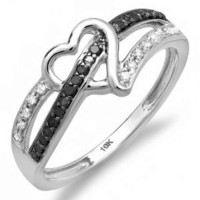 0.20 Carat (ctw) 10k White Gold Round Black and White Diamond Ladies Promise Heart Love Engagement Ring 1/5 CT: Jewelry: Amazon.com