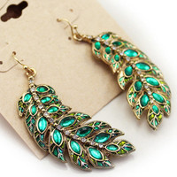 Antique Gold Plated Green Rhinestone Leaf Earrings Free Shipping Womens Earring