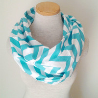 Chevron Infinity Scarf - Jersey Knit - Aqua and White