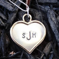 Personalized Monogram Heart Necklace - Nickel Silver Heart with Sterling Silver Ball Chain, Hand-Stamped