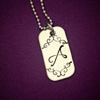 Initial Necklace - Hand Stamped Stainless Steel Pendant - Elegant Scroll Design - Customized with the Letter of Your Choice