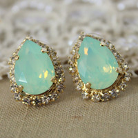 Mint Crystal big teardrop stud earring  14k plated gold by iloniti