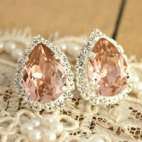 Pink Crystal big teardrop stud earring - Silver plated post earrings real swarovski rhinestones .