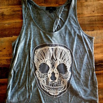 GREY Skull Tank Top Crochet Applique Skull with Criss Cross Back and Crochet Lace Trim Slub Racer Back Jersey Tank Top Size SMALL