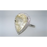 CATHY CARMENDY ONE OF A KIND PLATINUM & YELLOW SAPPHIRE CAMEO RING sz 6 - One of a Kind | Portero Luxury