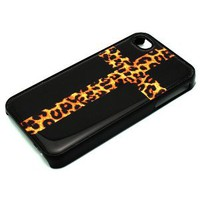 Amazon.com: BLACK Snap On Case iPhone 4 4S Plastic - Cross with Leopard Print Black Cheetah: Cell Phones &amp; Accessories