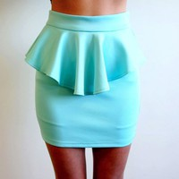 PASTEL MINT BLUE HIGH WAISTED PEPLUM MINI TUBE SKIRT 6 8 10 12
