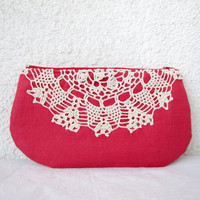 Raspberry and cream  Linen and Vintage Doily by HelloVioleta