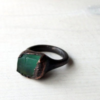 Copper Chrysoprase Ring Emerald Caribbean Green by MidwestAlchemy