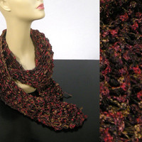 Lacy DropStitch Scarf Red Brown Gold by NikisKnerdyKnitting