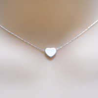 Heart Necklace. Sterling silver Heart and Sterling silver Chain, Small tiny Heart Necklace . Teen gift. Flower Girl . Simple Dainty Delicate