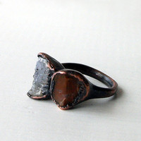 Geode Druzy Ring Copper Ring Agate Brown Grey by MidwestAlchemy